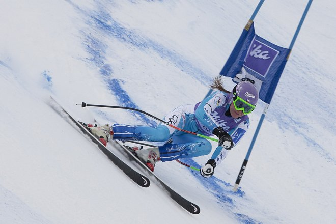 Šárka Strachová (Záhrobská) při závodech v alpském lyžování