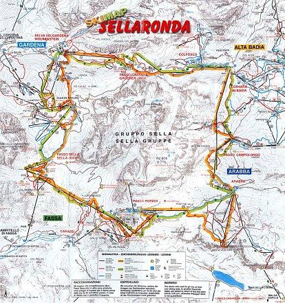 Mapa lyžařské oblasti Sella Ronda