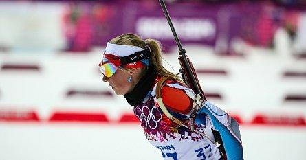Eva Puskarčíková při závodě na 7,5 km v Sochi
