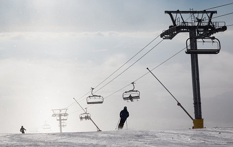 Lyžování ve ski areálu Štrbské Pleso