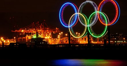 Olympijské kruhy v kanadském Vancouveru v roce 2010