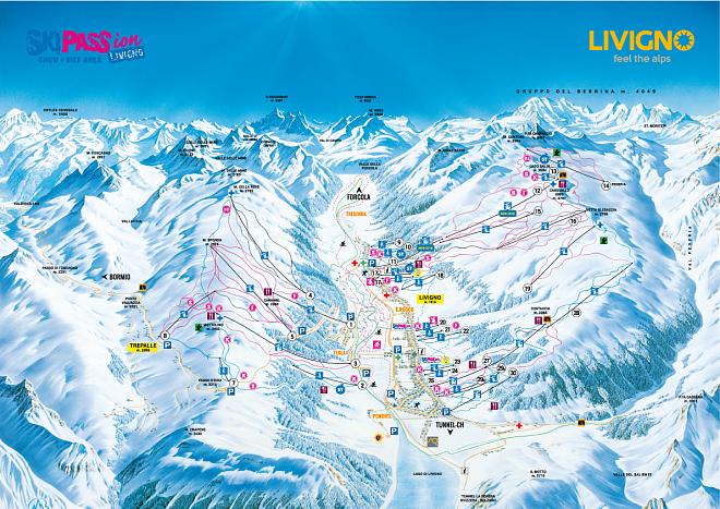 Livigno mapa ski areálu