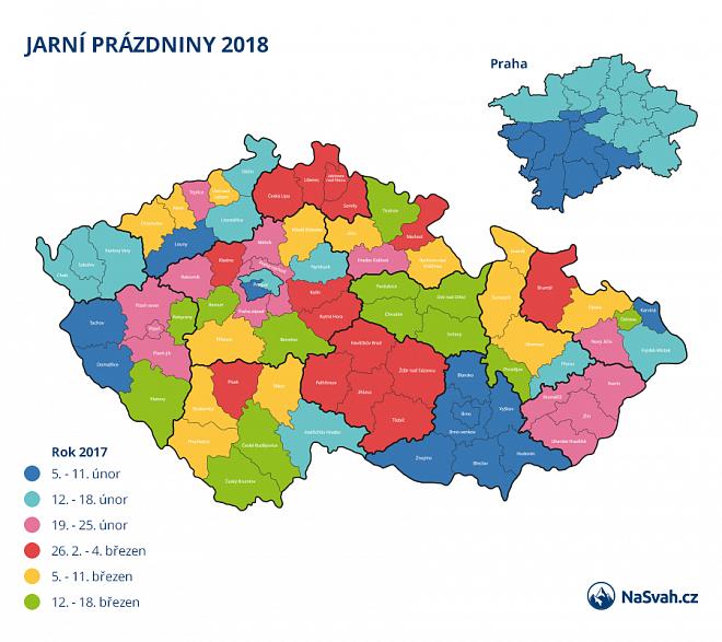 Jarní prázdniny 2018 v jednotlivých okresech a krajích